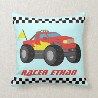 Racing Red Monster Truck, for Boys Room Cushion