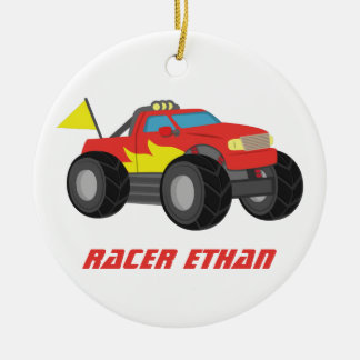 Racing Red Monster Truck, for Boys Room Round Ceramic Decoration