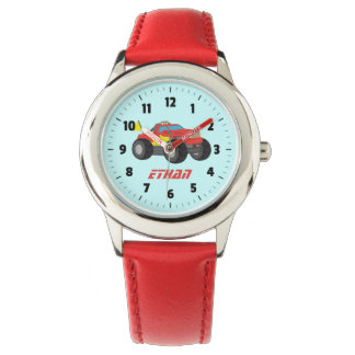 Racing Red Monster Truck, for Boys Wrist Watches