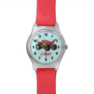 Racing Red Monster Truck, for Boys Wristwatch