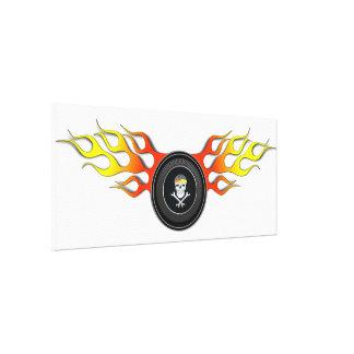 Racing Skull in Flaming Wheel Canvas Print