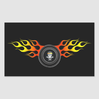 Racing Skull in Flaming Wheel Rectangular Sticker