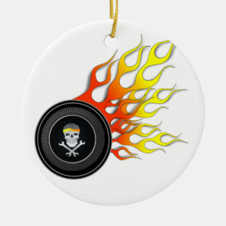 Racing Skull in Flaming Wheel Round Ceramic Decoration