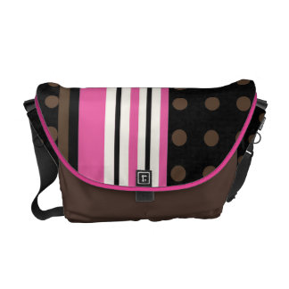 Racing Stripes with Polka Dots Brown and Pink Cute Commuter Bags
