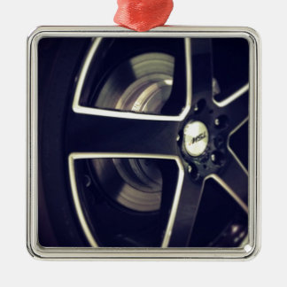 Racing Wheels Silver-Colored Square Decoration