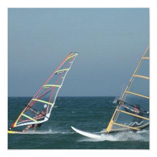 "Racing Windsurfers Invitations 5.25"" Square Invitation Card"