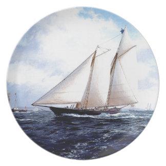 Racing yacht at sea plate