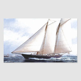 Racing yacht at sea rectangular sticker
