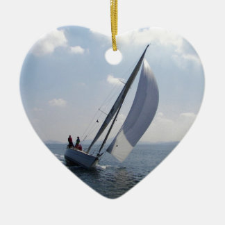Racing yacht at speed. ceramic heart decoration