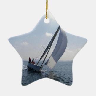 Racing yacht at speed. ceramic star decoration
