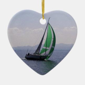 Racing yacht. ceramic heart decoration