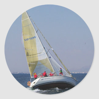 Racing yacht from behind. classic round sticker