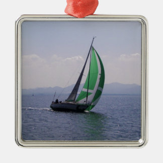 Racing yacht. Silver-Colored square decoration