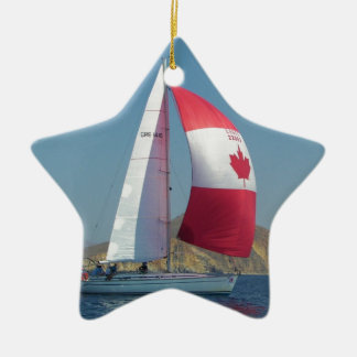 Racing Yacht With Canadian Spinnaker Ceramic Star Decoration