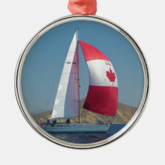 Racing Yacht With Canadian Spinnaker Christmas Ornament
