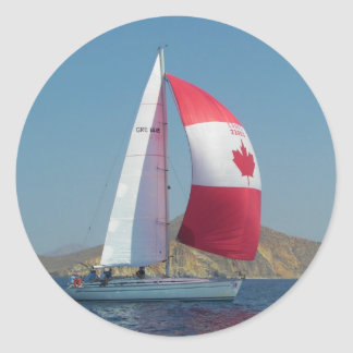 Racing Yacht With Canadian Spinnaker Classic Round Sticker