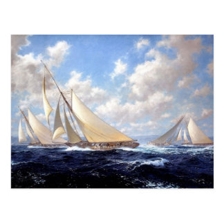 Racing yachts with a good wind postcards