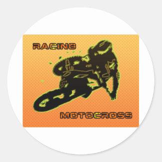 RACINGMOTOCROSSamarillo Round Sticker