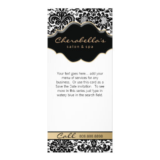 Rack Card Damask Beige Floral Salon Spa Fashion