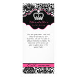 Rack Card Damask White Black Pink Floral Crown