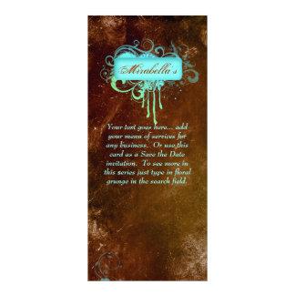 Rack Card Floral Grunge Salon Spa Blue Green