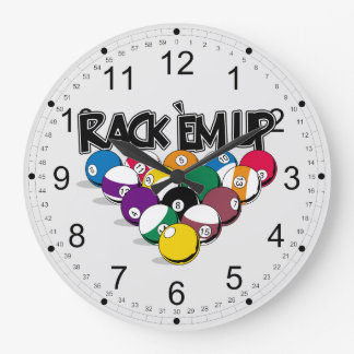 Rack Em Up Pool Large Clock