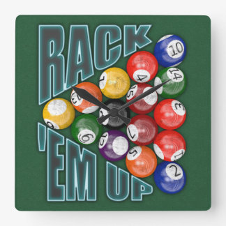 Rack Em Up Square Wall Clock
