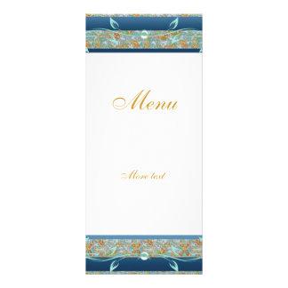 Rack Menu Card Vintage Gold Teal Blue Floral Personalized Rack Card