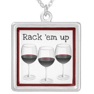 RACK'EM UP RED WINE GLASSES PRINT NECKLACES