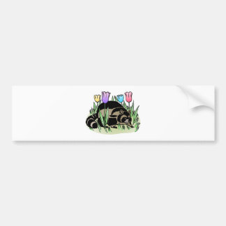 Racoon and Tulips Car Bumper Sticker