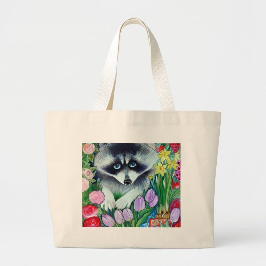 Racoon and tulips large tote bag
