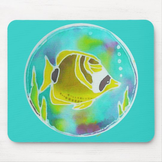Racoon Butterfly Fish Batik Art Mouse Mat