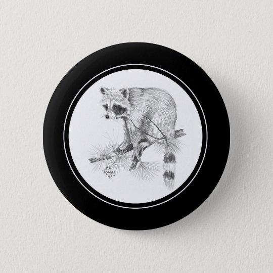 Racoon Button in pencil