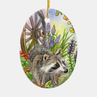 Racoon By Flower Garden Ceramic Oval Decoration