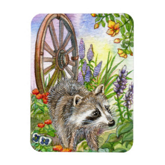 Racoon By Flower Garden Magnet