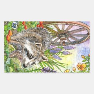 Racoon By Flower Garden Rectangular Sticker