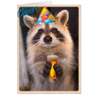 Racoon cheer for any party occasion. card