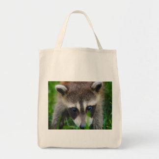 racoon grocery tote bag
