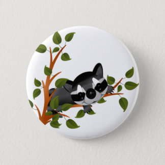 Racoon in a Tree 6 Cm Round Badge