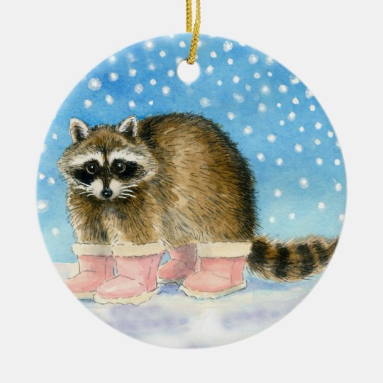 Racoon in pink boots Christmas or winter ornament