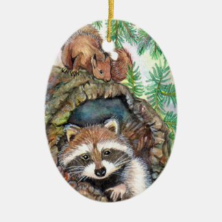 Racoon In The Tree Hole With Squirrel Ceramic Oval Decoration