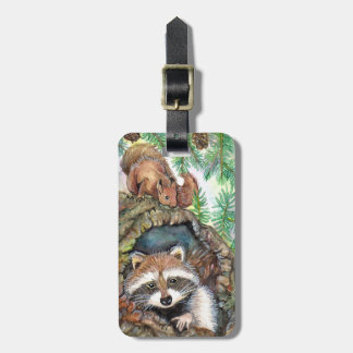 Racoon In The Tree Hole With Squirrel Luggage Tag