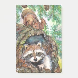 Racoon In The Tree Hole With Squirrel Post-it® Notes