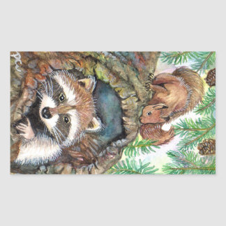 Racoon In The Tree Hole With Squirrel Rectangular Sticker