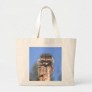 Racoon on Stump Canvas Bag