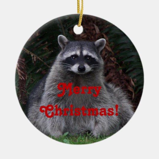 Racoon Photo Christmas Ceramic Ornament