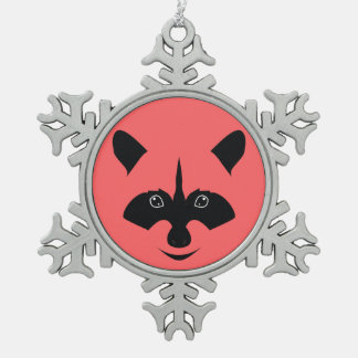 Racoon Snowflake Pewter Christmas Ornament