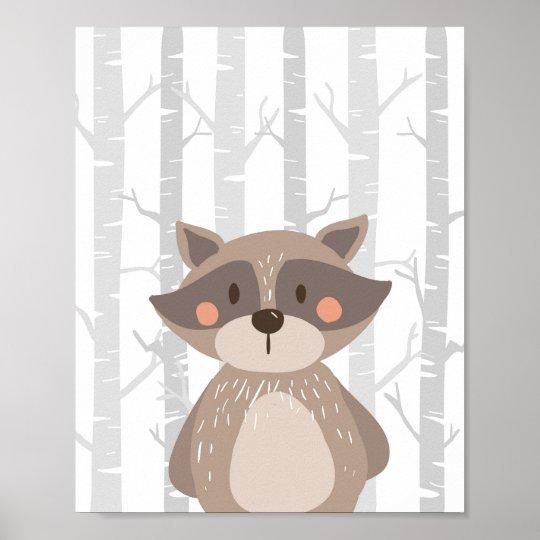 Racoon Woodland Animal Nursery Wall Art Print