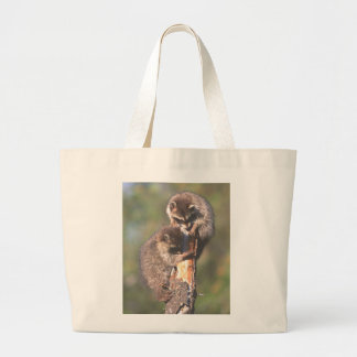 Racoons on Stump Canvas Bag