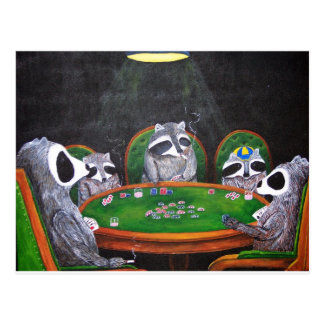 Racoons Playing Poker Postcard